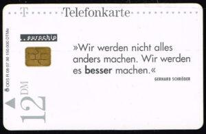 Telefoonkaart Duitsland 1998 Deutsche Telekom SPD - Schaltknüppel R 07 98