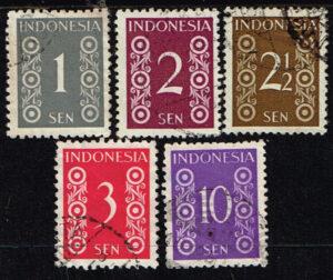 Indonesië 1949 zegels Cijfertype gestempeld Michel 13-14-15-16-20