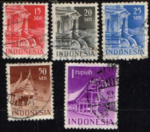 Indonesië 1949 zegels Gebouwen gestempeld Michel 24-25-26-29-52