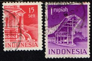 Indonesië 1949 zegels Gebouwen gestempeld Michel 24-52