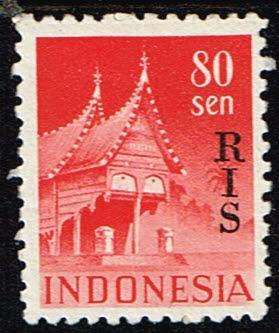 Indonesië 1950 zegel Gebouwen 80 sen opdruk RIS Michel 55