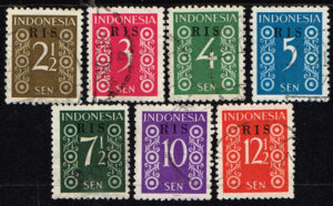 Indonesië 1950 zegels Cijfertype opdruk RIS gestempeld Michel 41-47