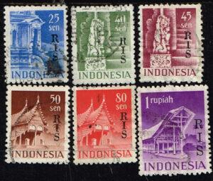Indonesië 1950 zegels Gebouwen type opdruk RIS gestempeld Michel 49-56