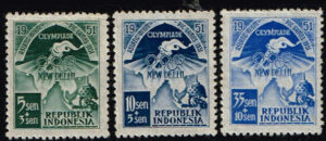 Indonesië 1951 Aziatische Spelen in New Delhi Michel 68-69-72