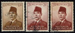 Indonesië 1951 Frankeerzegels President Soekarno gestempeld Michel 111-112 (2x)