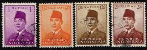 Indonesië 1951 Frankeerzegels President Soekarno gestempeld Michel 82-110-111-112