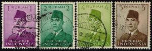 Indonesië 1951 Frankeerzegels President Soekarno gestempeld Michel 82-83-85-86
