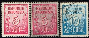 Indonesië 1951 zegels Cijfertype gestempeld Michel 76 (2x) -78