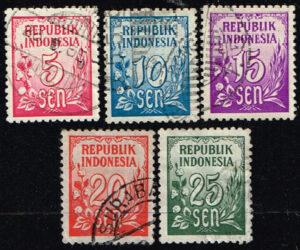 Indonesië 1951 zegels Cijfertype gestempeld Michel 76-78-79-80-81