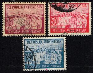 Indonesië 1955 1e Verkiezingen van de Republiek Indonesië gestempeld Michel 151-153-154