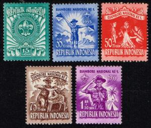 Indonesië 1955 Serie 1e Nationale Jamboree te Minggu Michel 138-142