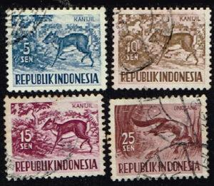 Indonesië 1956-58 Dierenzegels gestempeld Michel 171-172-173-175