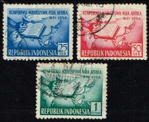Indonesië 1956 Afro Aziatische Studentenconferentie Bandung gestempeld Michel 162-164