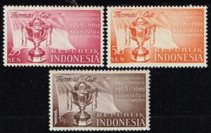 Indonesië 1958 Serie Thomas Cup finale badminton Michel 221-223