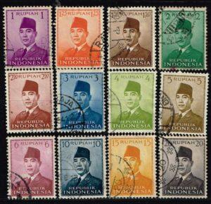 Indonesië 1951 frankeerzegels President Soekarno gestempeld (600 x 578)