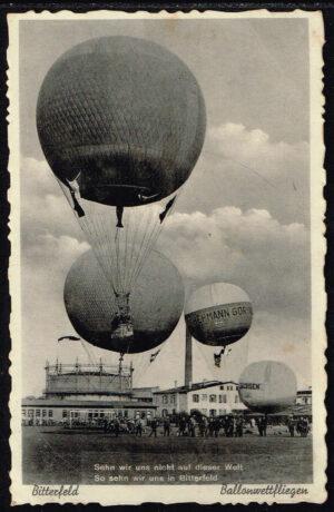 Ansichtskarte Postkarte 1934 Bitterfeld Ballonwettfliegen