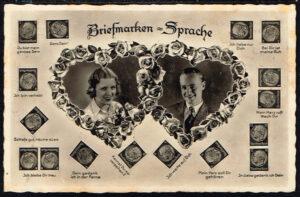 Ansichtskarte Postkarte Briefmarken Sprache Liebespaar