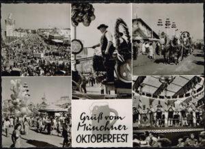 Ansichtskarte Postkarte München Gruss vom Oktoberfest ca. 1965
