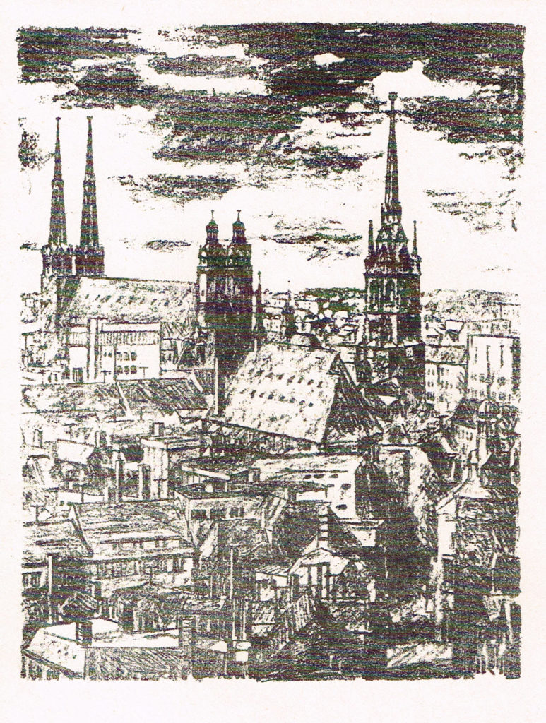 Halle Marktplatz mit Marienkirche und Roter Turm Theo Dietzel Originele Lithographie