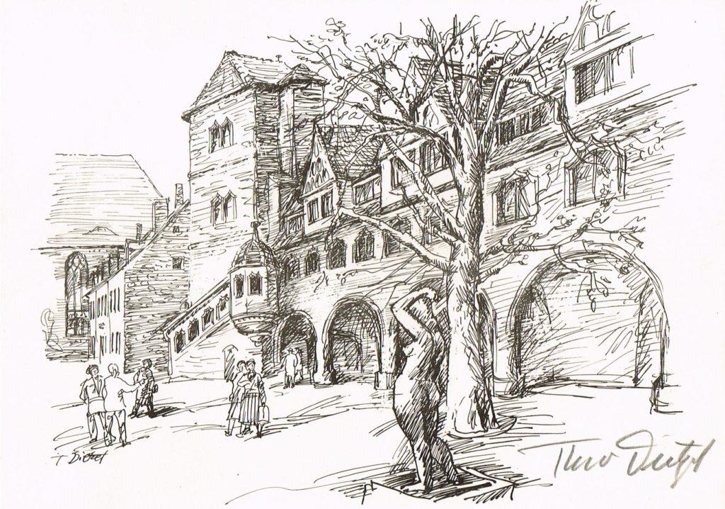 Halle Moritzburg-Hof Theo Dietzel Originele Lithographie