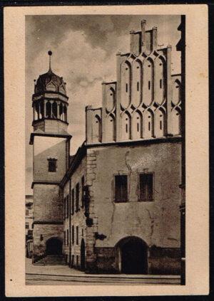 Postkarte Ansichtskarte Halle Saale 1940 Rathaus mit Freitreppe