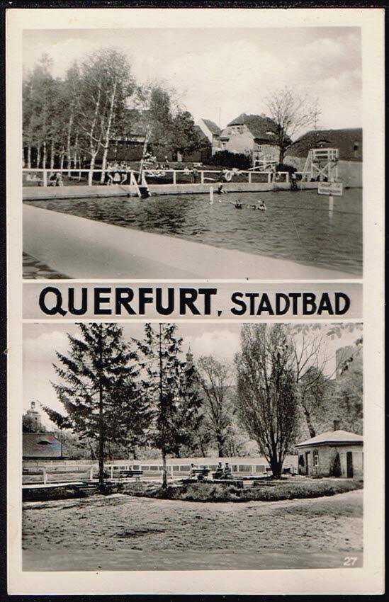 Postkarte Deutschland Querfurt 1945 Stadtbad