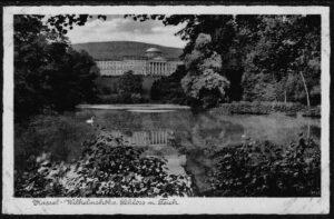 Ansichtskarte Postkarte Kassel 1940 Wilhelmshöhe Schloss mit Teich