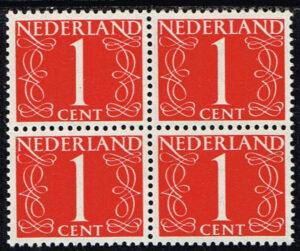 Nederland 1953 Cijfer 1 ct rood blok van 4 zegels NVPH 460