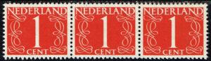 Nederland 1953 Cijfer 1 ct rood strook van 3 zegels NVPH 460