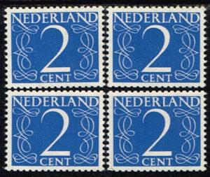 Nederland 1953 Cijfer 2 ct blauw 4 zegels NVPH 461