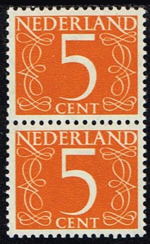 Nederland 1953 Cijfer 5 ct geeloranje blok van 2 zegels NVPH 465