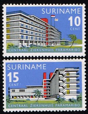 Suriname 1966 Centraal Ziekenhuis Paramaribo NVPH 447-448