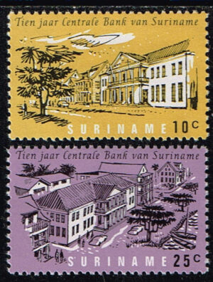 Suriname 1967 10 jaar Centrale Bank NVPH 475-476
