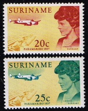 Suriname 1967 Amelia Earhart met haar vliegtuig NVPH 477-478