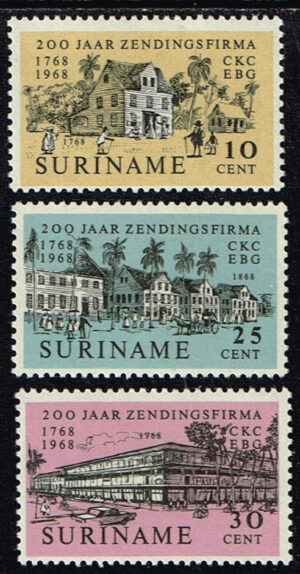 Suriname 1968 200 jaar Zendingsfirma Kersten & Co NVPH 499-501
