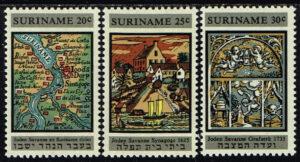 Suriname 1968 Restauratie Synagoge Joden Savanne NVPH 502-504