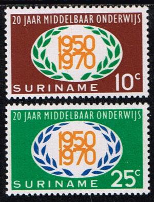Suriname 1970 20 jaar Middelbaar Onderwijs NVPH 534-535