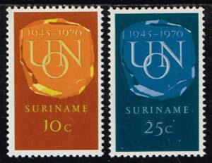 Suriname 1970 25 jaar Verenigde Naties UNO NVPH 538-539