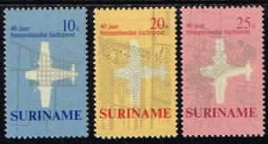 Suriname 1970 40 jaar Binnenlandse Luchtpost NVPH 540-542