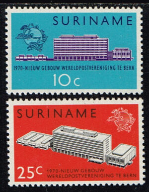 Suriname 1970 Nieuw UPU Gebouw in Bern NVPH 536-537
