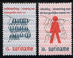 Suriname 1971 50 jaar Volkstelling en Burgerlijke Stand NVPH 565-566