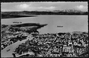 ansichtskarte Postkarte Konstanz am Bodensee Rheinausfluss Panorama