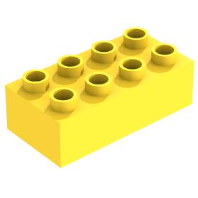Lego 1980 Duplo 3011 Geel Blokje Brick 2 x 4