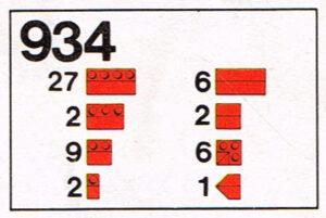 Lego 1973 Legoset 934 Dak stenen Roof bricks 45 graden