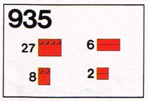 Lego 1973 Legoset 935 Dak stenen Roof bricks 33 graden