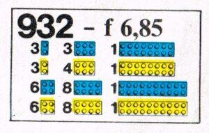 Legoset 932 blauw en geel bricks