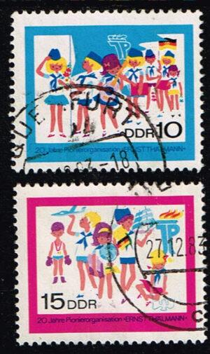Duitsland (DDR) 1968 20 Jahre Pionierorganisation gestempelt Michel nr 1432-1433