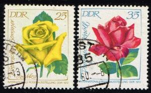 Duitsland (DDR) 1972 Internationale Rosenausstellung gestempelt Michel nr 1767-1768