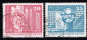 Duitsland (DDR) 1973 Freimarken Aufbau in der DDR gestempeld Michel nr 1820-1821
