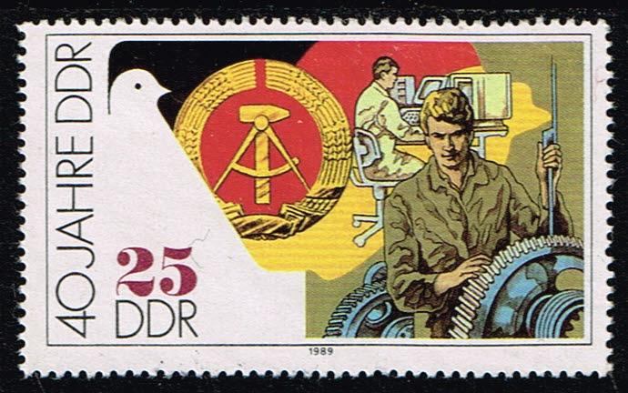 Duitsland (DDR) 1989 40 Jahre Deutsche Demokratische Republik gestempelt Michel 3282
